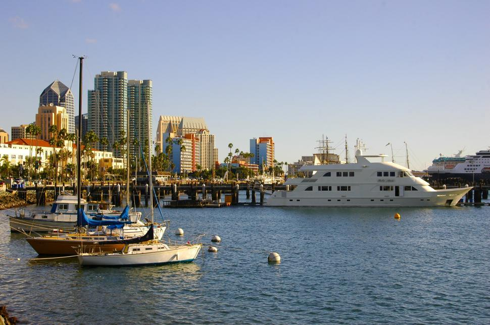 Download Free Stock HD Photo of Boats Docked in the San Diego Marina Online