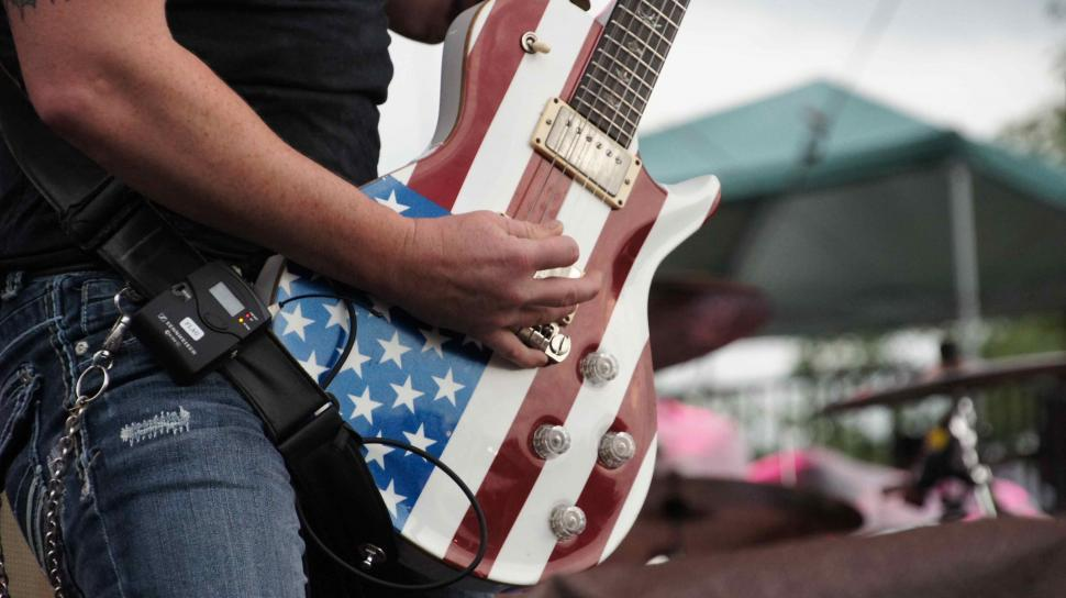 Get Free Stock Photos of American Flag Guitar and Drums