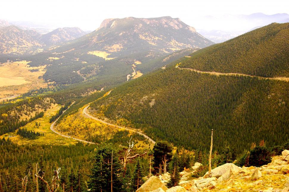 Download Free Stock HD Photo of Mountain Road Pass Winds Up Autumn Foliage Online