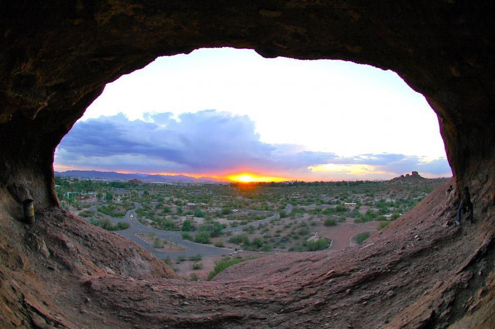 Download Free Stock HD Photo of Sunset through Natural Bridge Arch Online