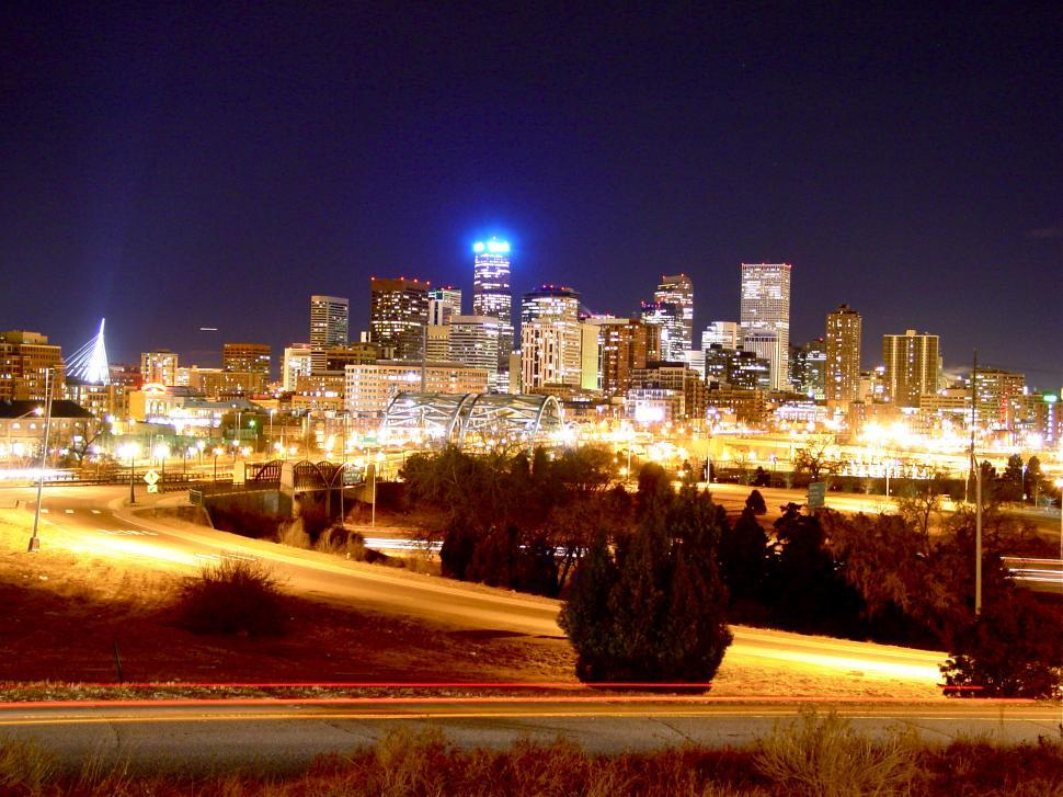 Download Free Stock HD Photo of Denver City Skyline with Skyscrapers Online