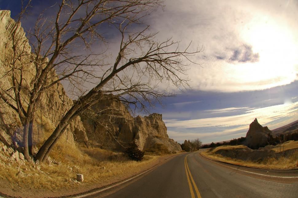 Download Free Stock HD Photo of Road through the Badlands Desert Online
