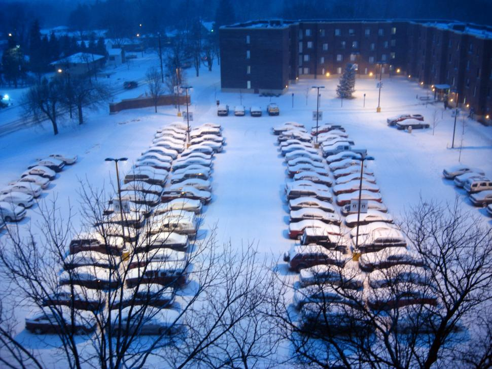 Download Free Stock HD Photo of A Snowy Parking Lot Online