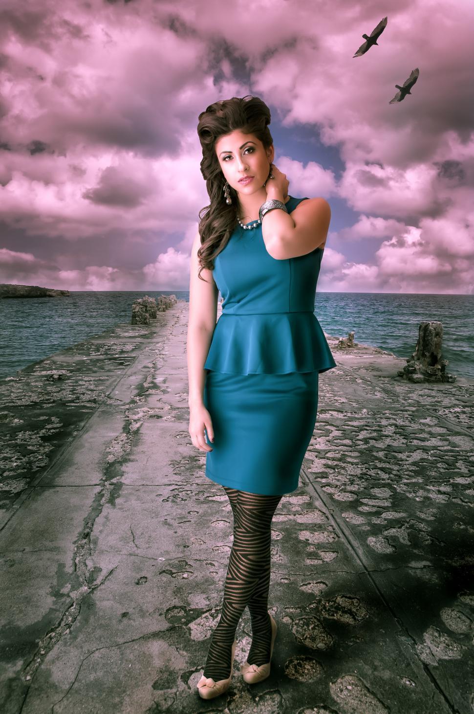 Download Free Stock HD Photo of Brunette in blue dress Online