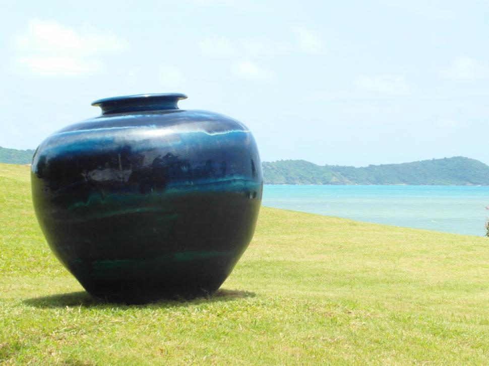 Download Free Stock HD Photo of Large Vase in Ocean-Side Garden Online