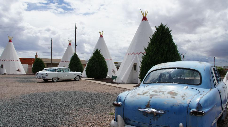 Download Free Stock HD Photo of Teepees and Cars on Route 66 Online