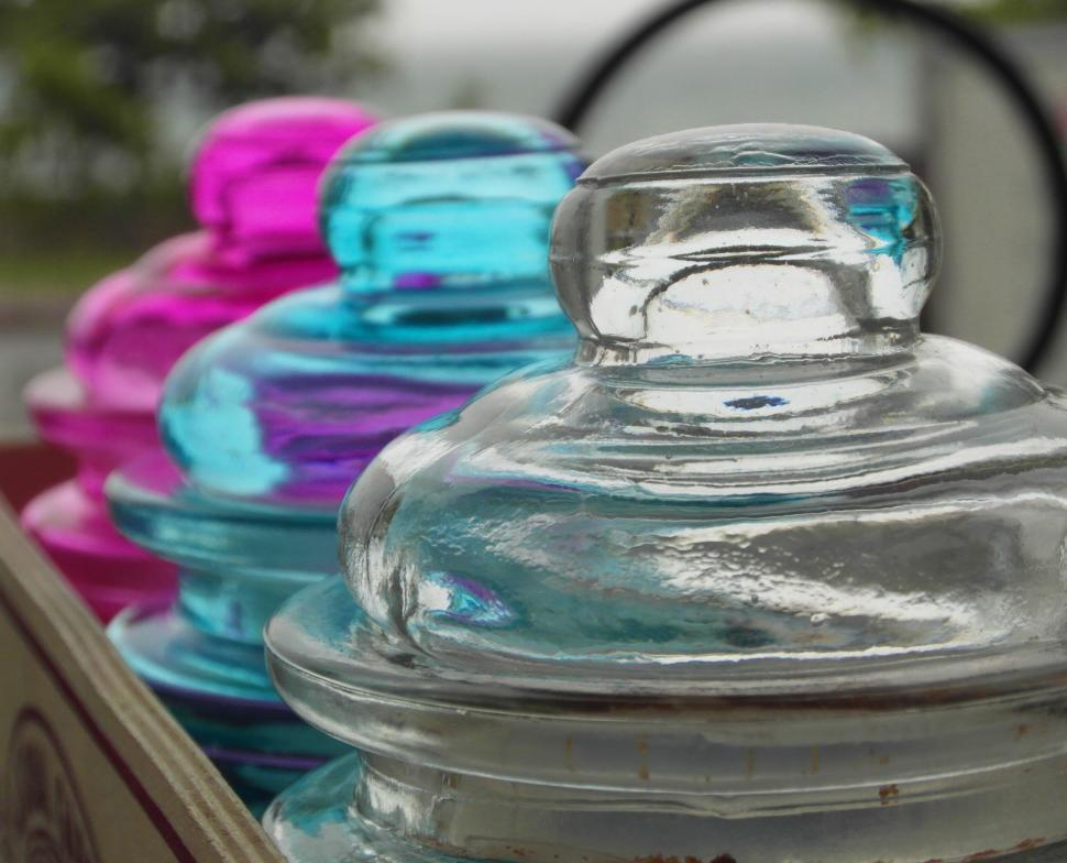 Download Free Stock HD Photo of Colored Glass Jars Online
