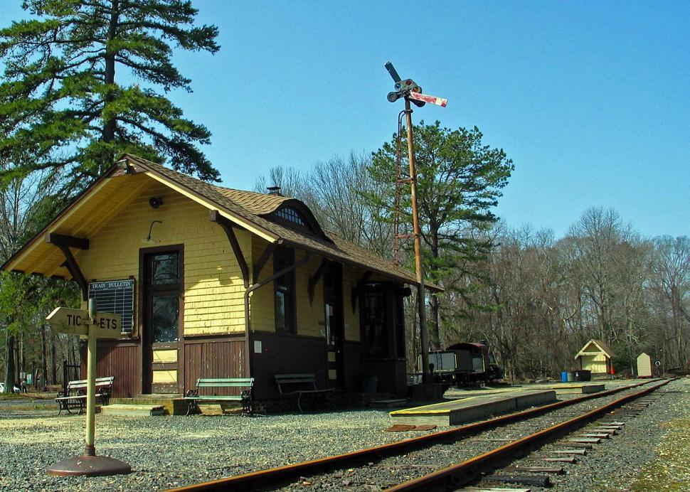 Free image of Old train station in historic Allaire Village in New Jersey.