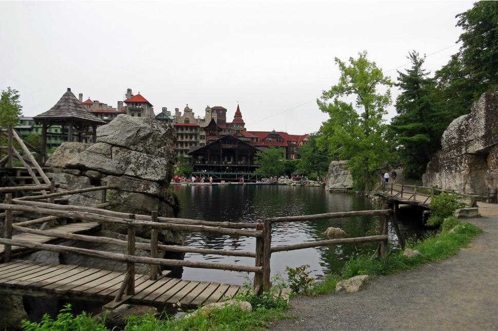 Download Free Stock HD Photo of Mohonk Mountain House View From Trail Online