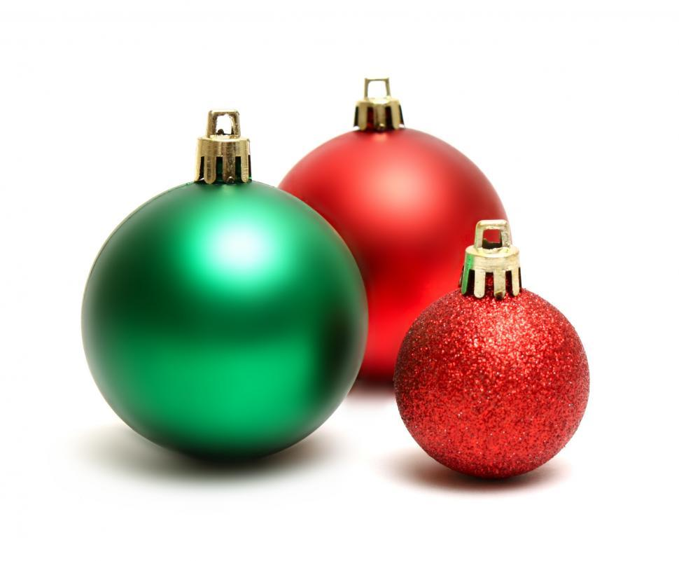 download free stock hd photo of green and red christmas ornaments isolated on a white background