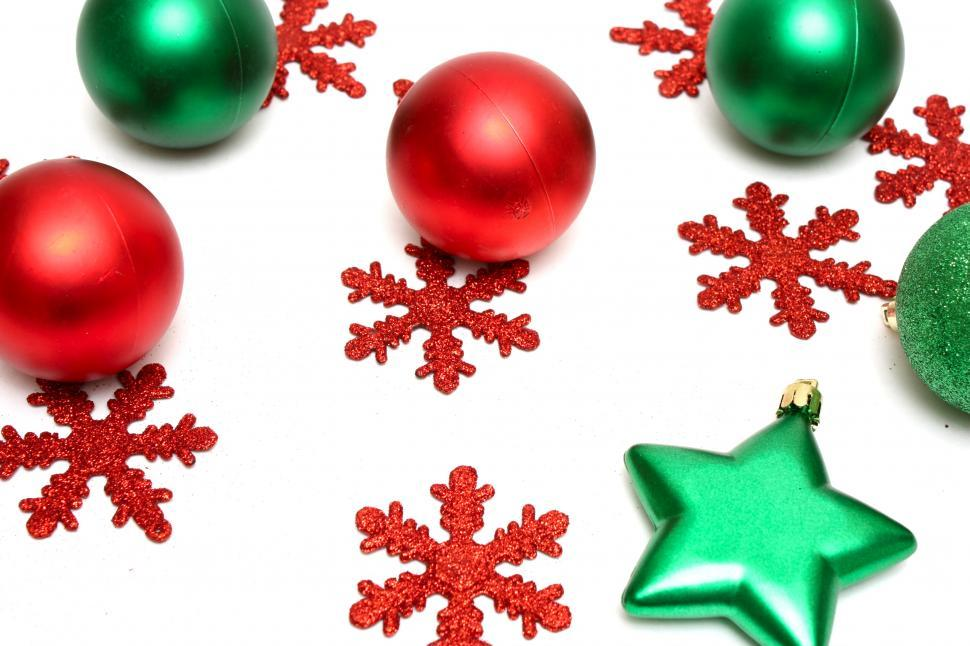 download free stock hd photo of red and green christmas ornaments isolated on a white background