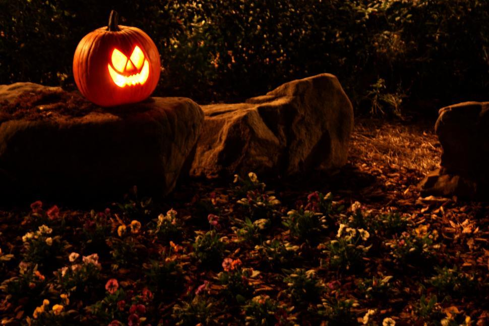 Free image of A Halloween jack-o-lantern on a rock.