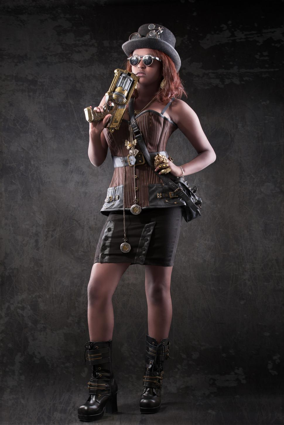 Download Free Stock HD Photo of Steampunk woman standing Online