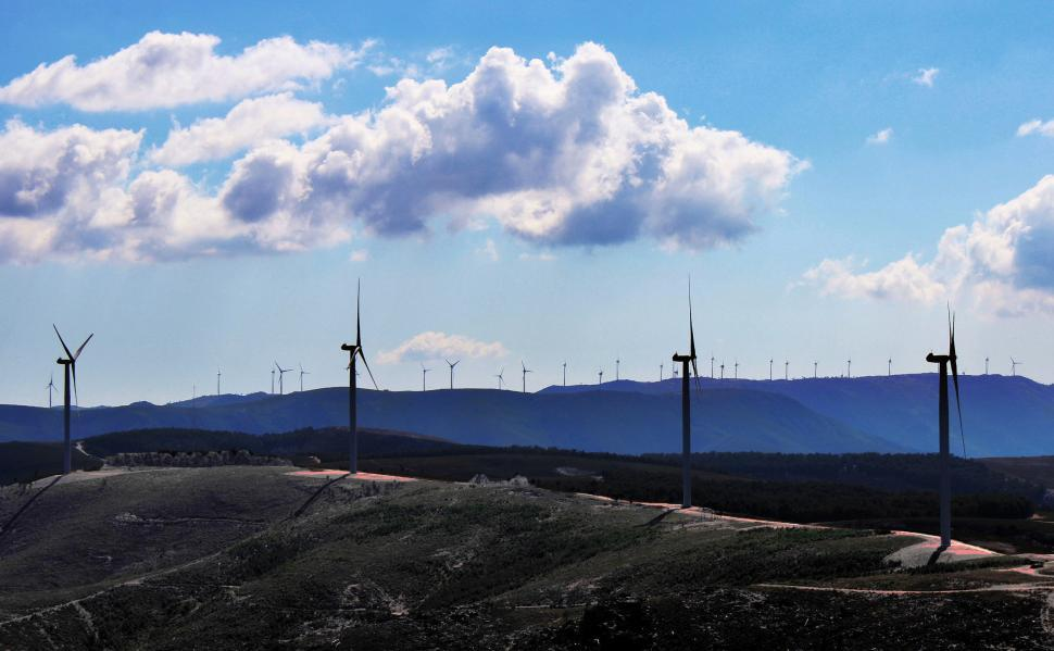 Download Free Stock HD Photo of Inland wind farm in central Portugal Online