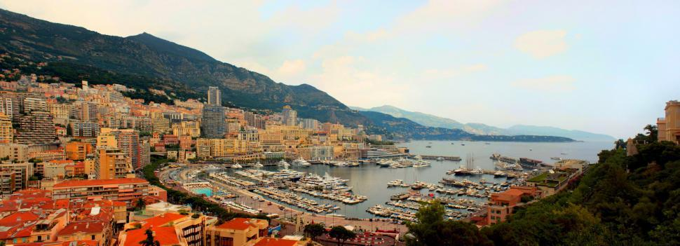 Download Free Stock HD Photo of Panoramic view of Monte Carlo in Monaco - view of luxury yacht i Online