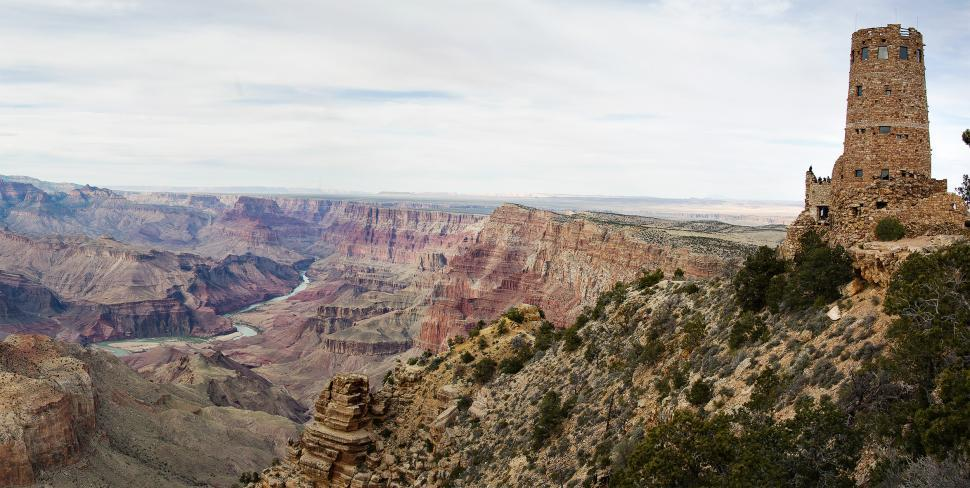 Download Free Stock HD Photo of Desert View Watchtower Panorama Online