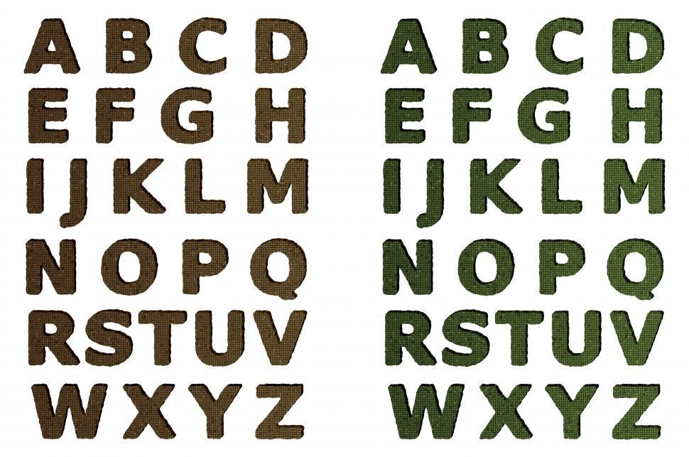 Download Free Stock HD Photo of Green and Brown Mosaic Alphabet Sets Online