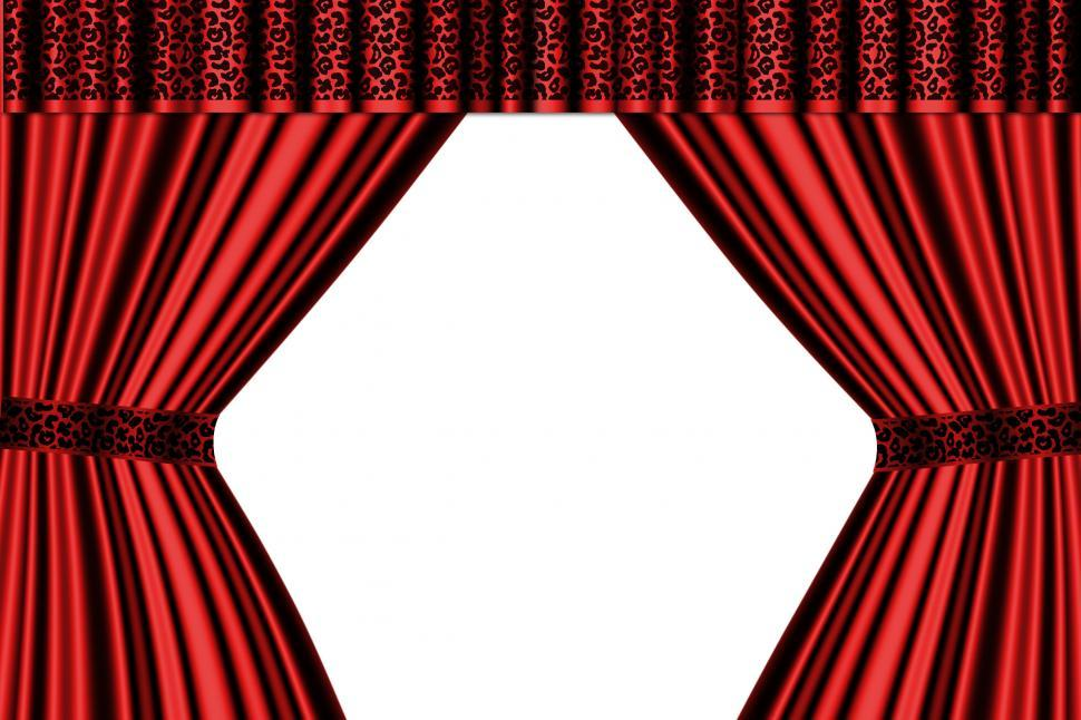 red satin curtains