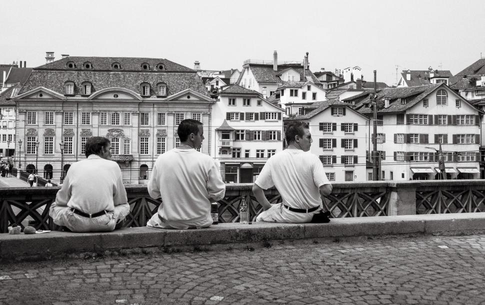 Download Free Stock HD Photo of Three young men on terrace  Online