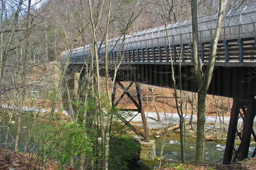 Download Free Stock HD Photo of Bridge Over The Ken Lockwood Gorge Online