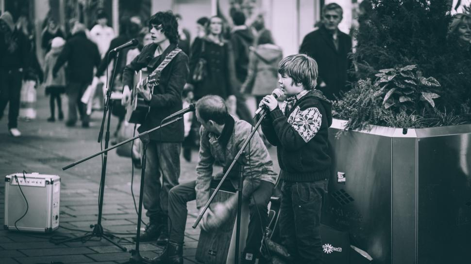 Download Free Stock HD Photo of Young Singer, Buchanan Street, Glasgow Online