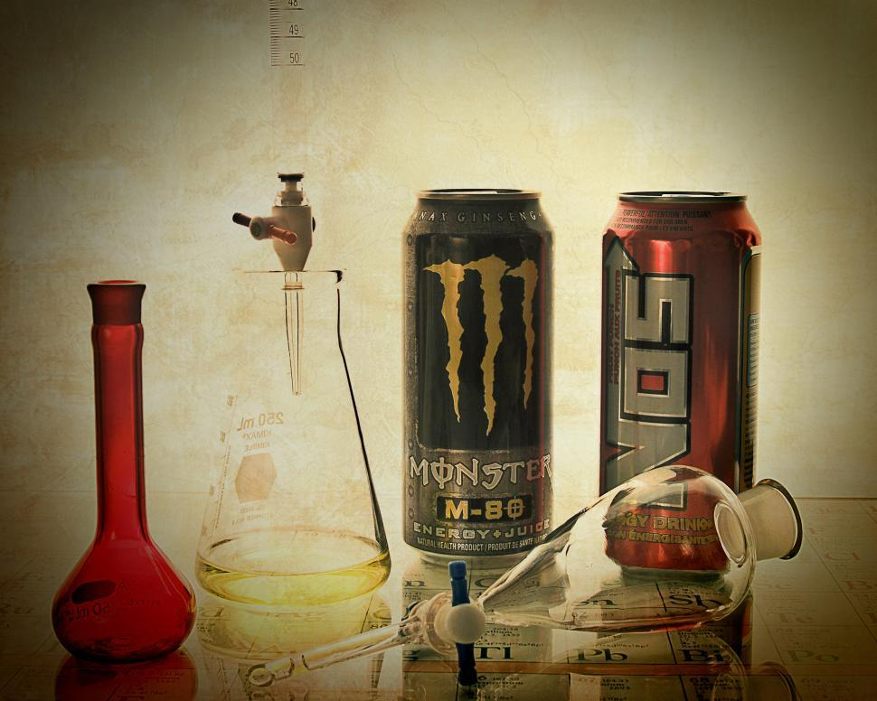 Download Free Stock HD Photo of Old look, energy drink and lab glass Online