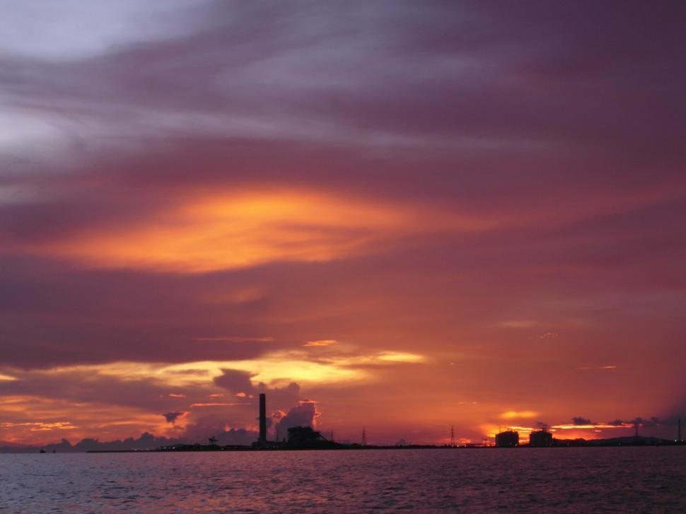 Download Free Stock HD Photo of Oil Terminal at Sunset Online
