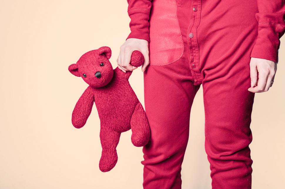 Download Free Stock HD Photo of Woman in Pink with Pink Teddy Bear Online
