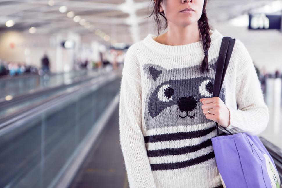 Download Free Stock HD Photo of Young Woman in raccoon design woolen sweater Online