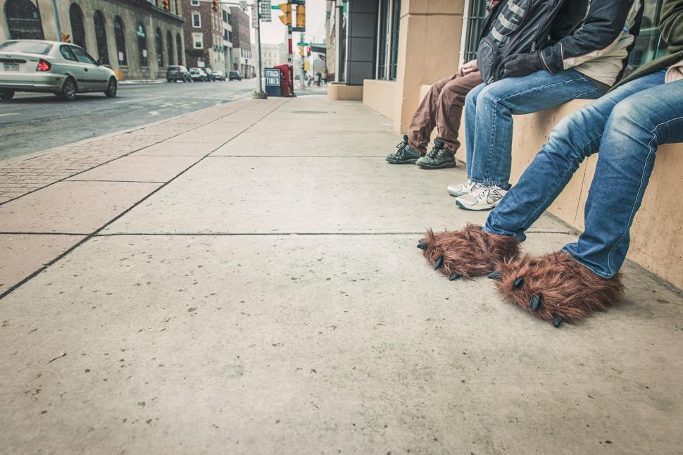 Download Free Stock HD Photo of Man in fake ape-man feets Online