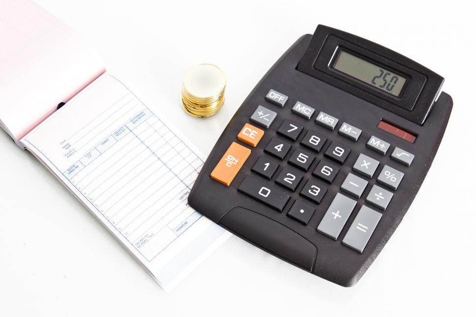 Get Free Stock Photos of Receipt book with calculator and