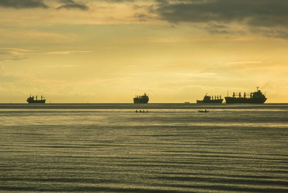 Download Free Stock HD Photo of Freighters anchored at English Bay Online