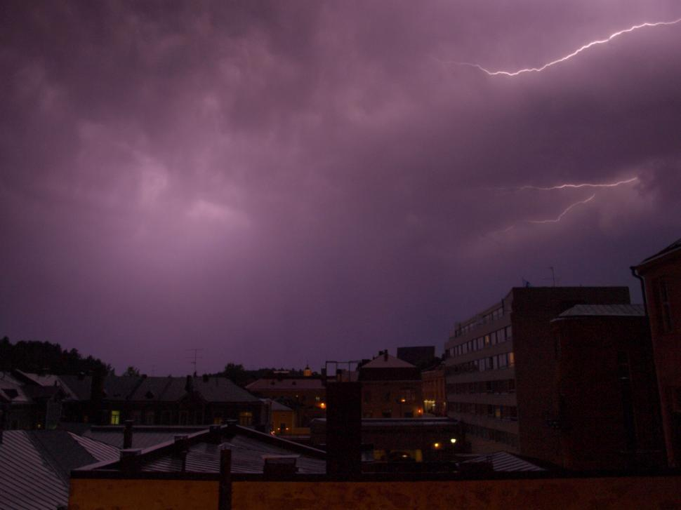 Download Free Stock HD Photo of Thunder over city Online