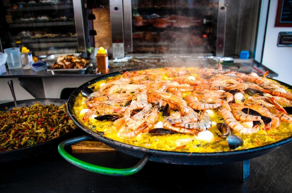 Download Free Stock HD Photo of paella shrimps dish Online