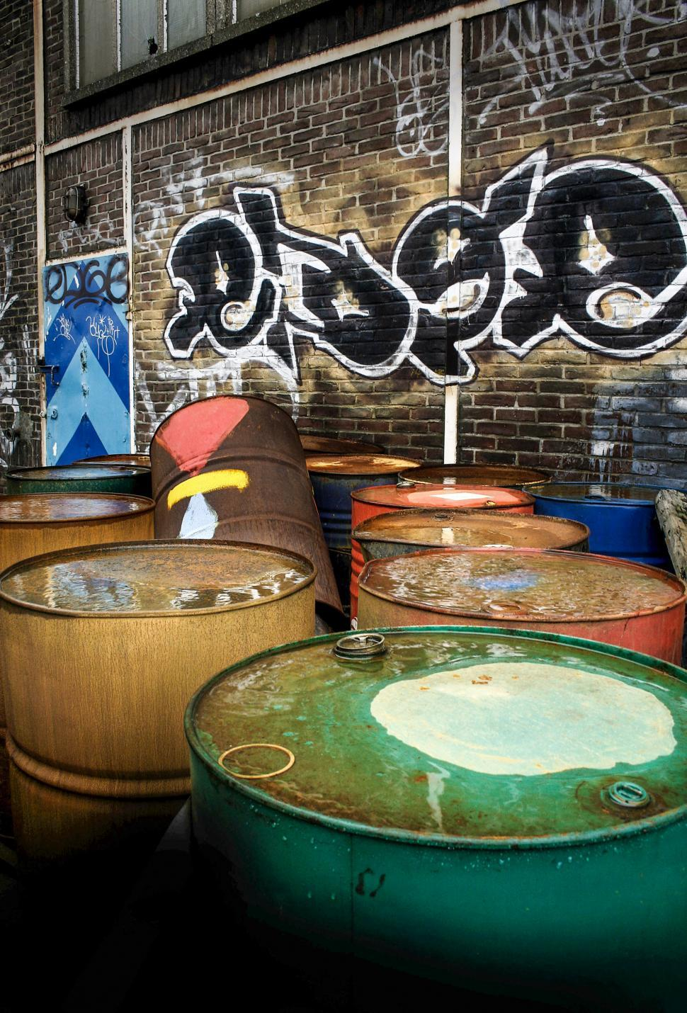 Download Free Stock HD Photo of Urban oil cans drums Online