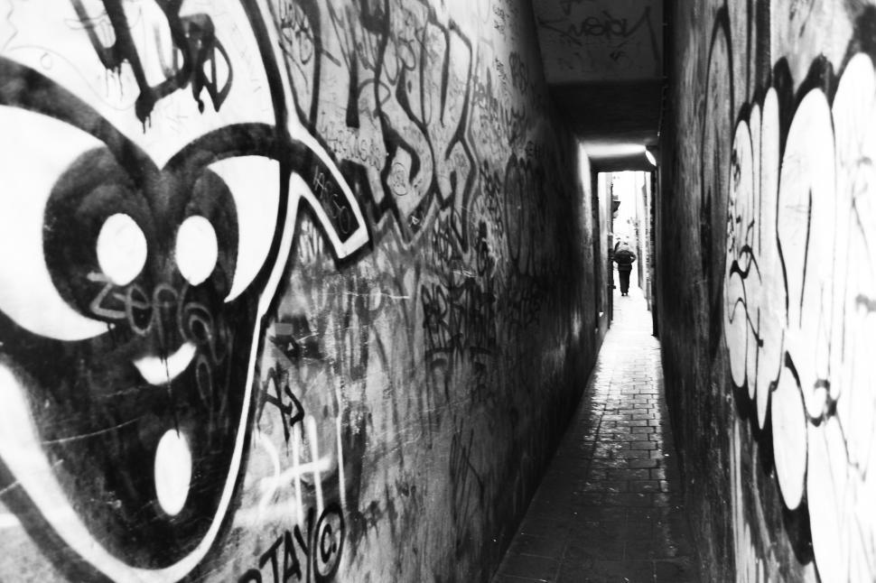Download Free Stock HD Photo of Small graffiti passage way Online