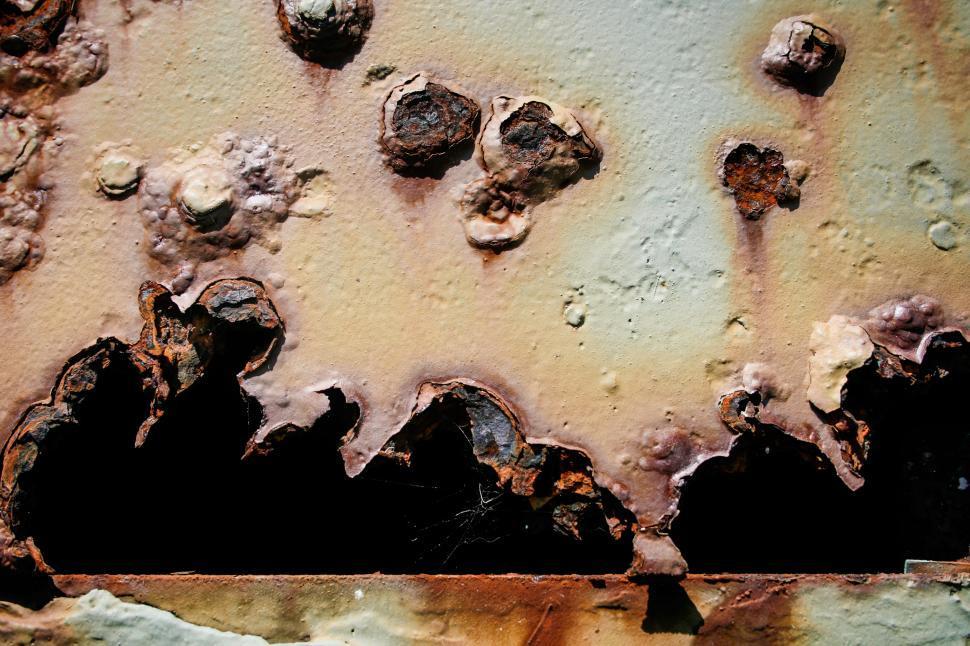 Download Free Stock HD Photo of Bullet holes in rusty metal Online