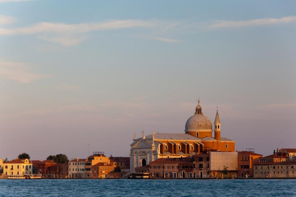 Download Free Stock HD Photo of Evening view of Gesuati Quay and Santa Maria del Rosario Church  Online