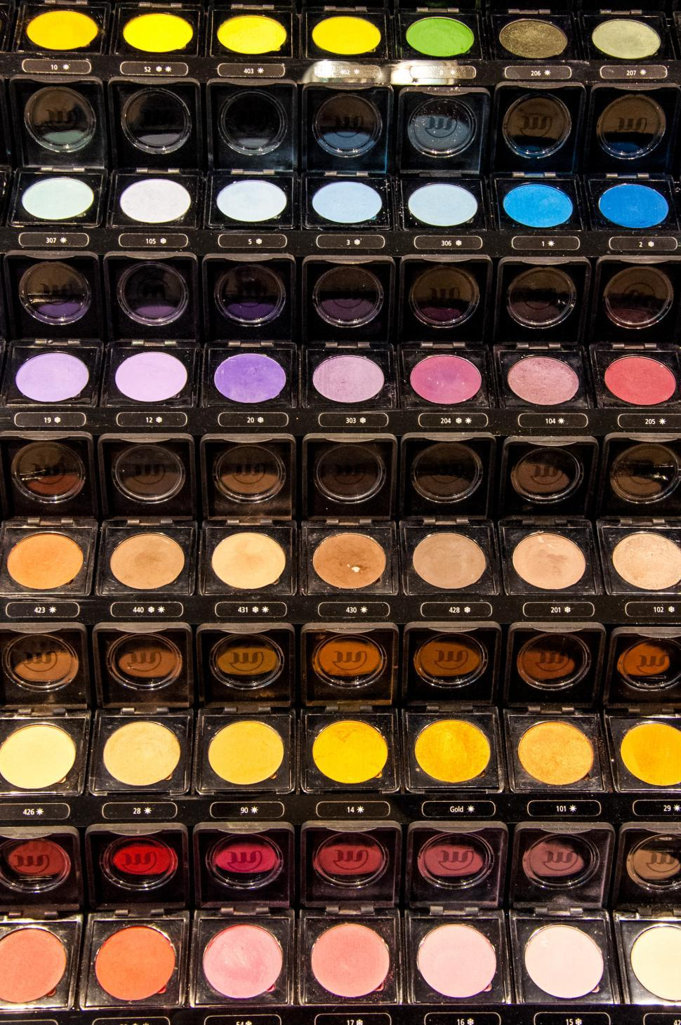 Download Free Stock HD Photo of Colorful display of eye makeup Online