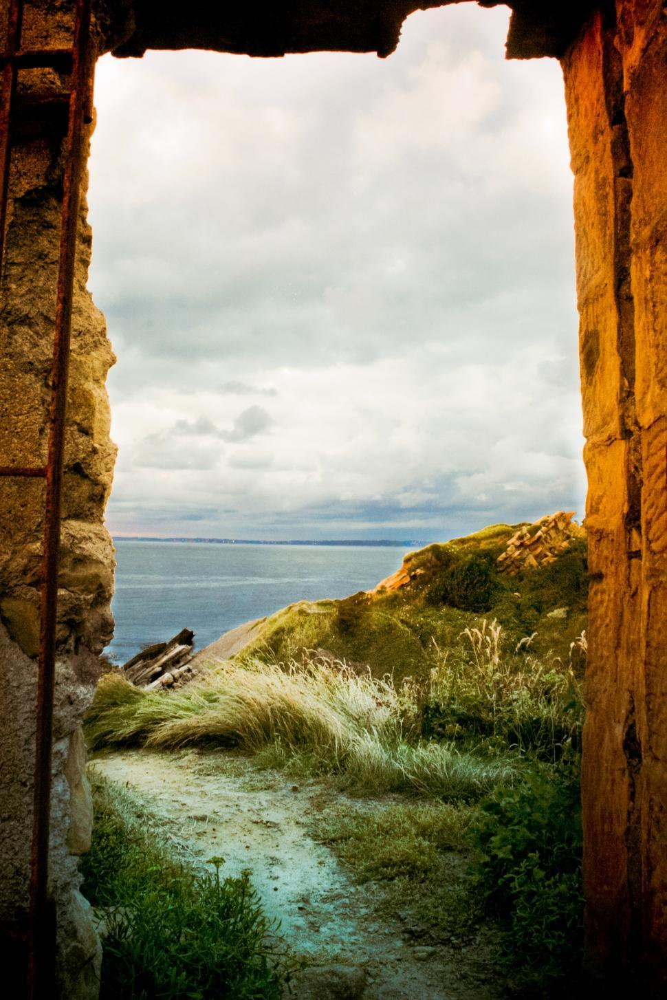 Download Free Stock HD Photo of Landscape beyond arch Online