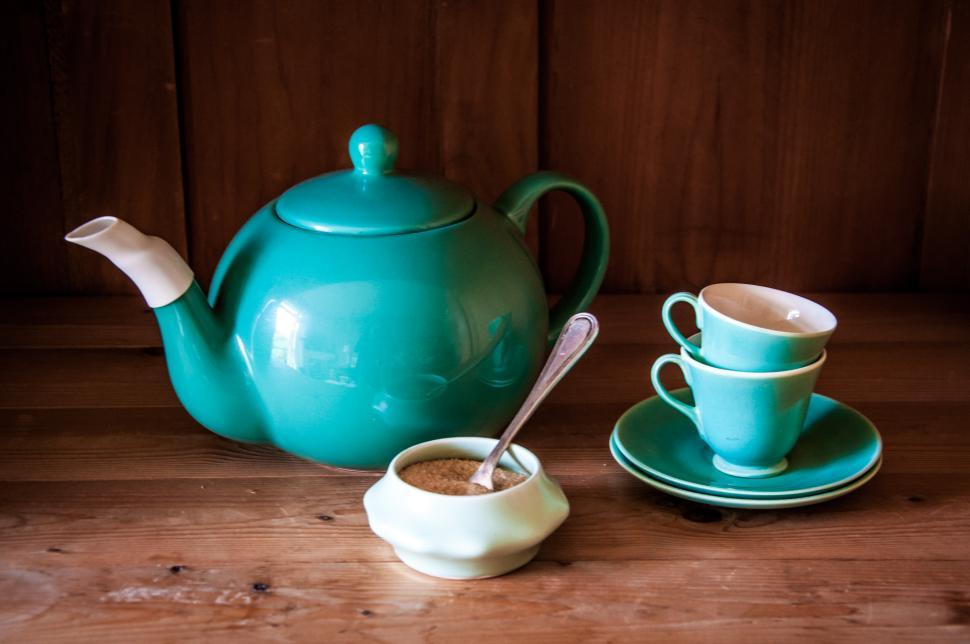 Download Free Stock HD Photo of Set turquoise cups, sugar and teapot Online