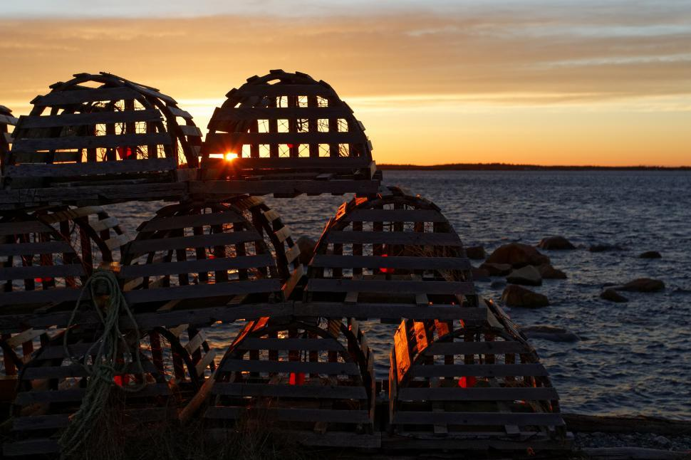 Download Free Stock HD Photo of Stacked Lobster Pots Online