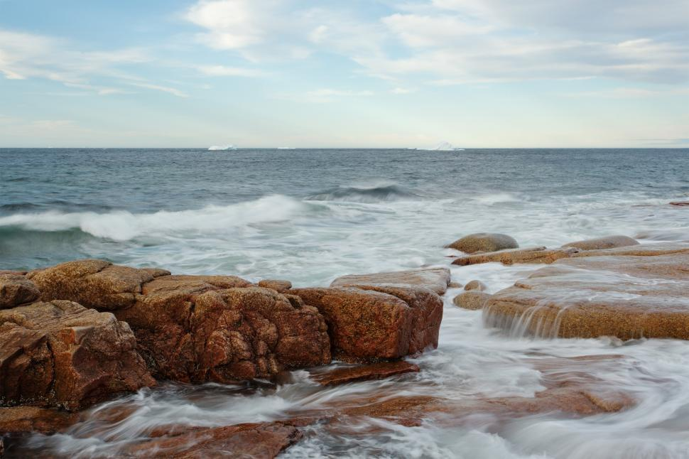 Download Free Stock HD Photo of Seascape with Icebergs Online