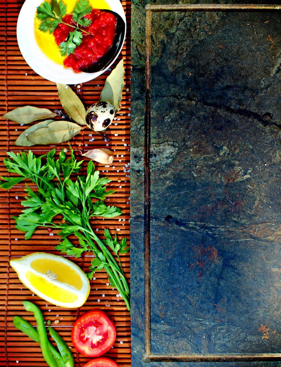 Download Free Stock HD Photo of Basic mediterranean style cooking ingredients Online