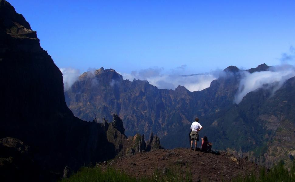 Download Free Stock HD Photo of Couple enjoying the view in the mountains - Madeira Island, Port Online