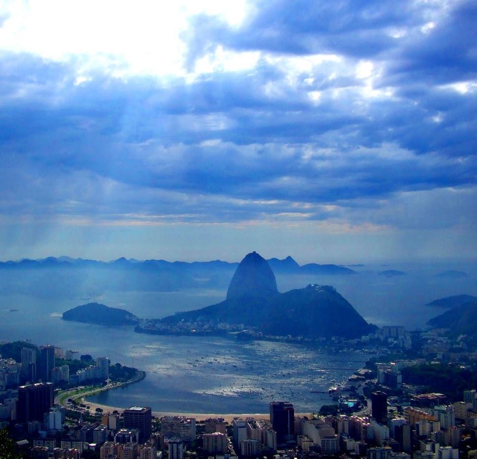 Download Free Stock HD Photo of View from Christ the Redeemer onto Guanabara Bay in Rio de Janei Online