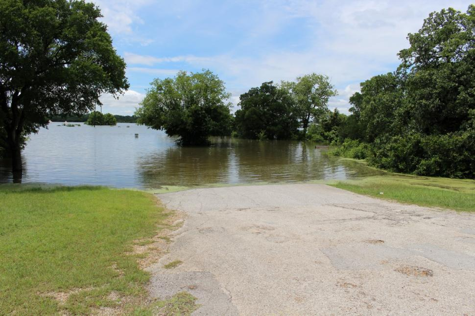 Download Free Stock HD Photo of Flood waters at Grapevine Lake in Texas Online