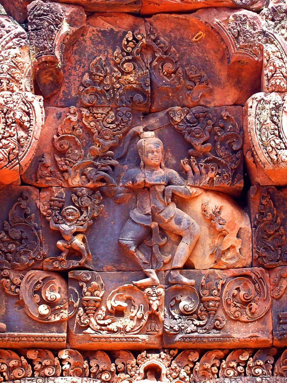 Download Free Stock HD Photo of Pink stone carvings of Banteay Srei - Siemreap - Cambodia Online