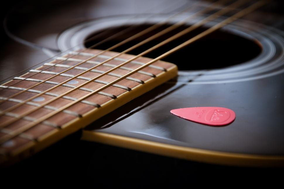 Download Free Stock HD Photo of guitar close up with pick Online