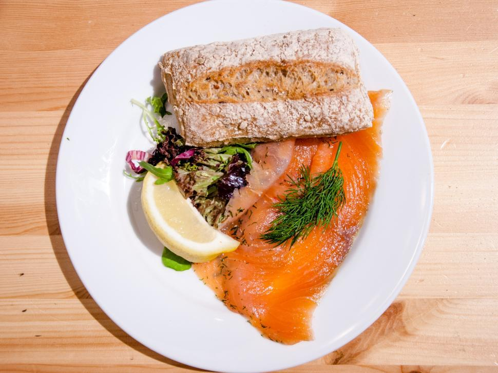Download Free Stock HD Photo of Salmon on a bread with horseradish Online
